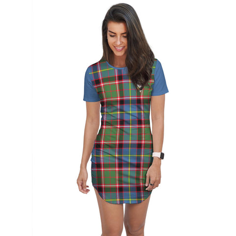 T-shirt Dress - Clan Glass Tartan Plaid T-shirt Dress For Women