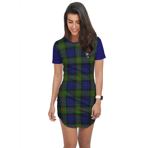 T-shirt Dress - Clan Gunn Tartan Plaid T-shirt Dress For Women