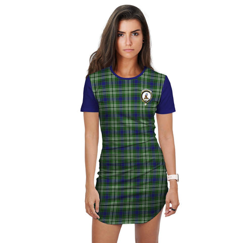T-shirt Dress - Clan Haliburton Tartan Plaid T-shirt Dress For Women