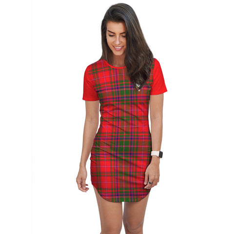 T-shirt Dress - Clan MacDowall (of Garthland) Tartan Plaid T-shirt Dress For Women