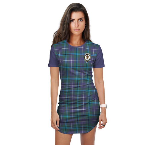T-shirt Dress - Clan Sandilands Tartan Plaid T-shirt Dress For Women