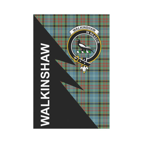 Garden Flag - Clan Walkinshaw Plaid & Crest Tartan Flag - 3 Sizes - Flash Style