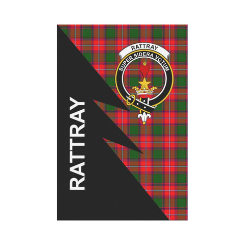 Garden Flag - Clan Rattray Plaid & Crest Tartan Flag - 3 Sizes - Flash Style