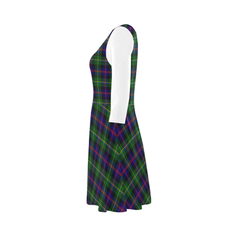 Malcolm Modern Tartan 3/4 Sleeve Sundress | Exclusive Over 500 Clans