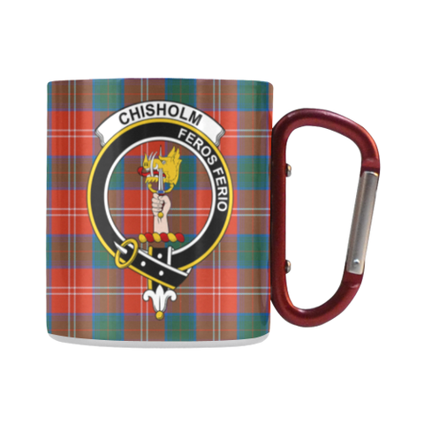 Chisholm Ancient  Tartan Mug Classic Insulated - Clan Badge