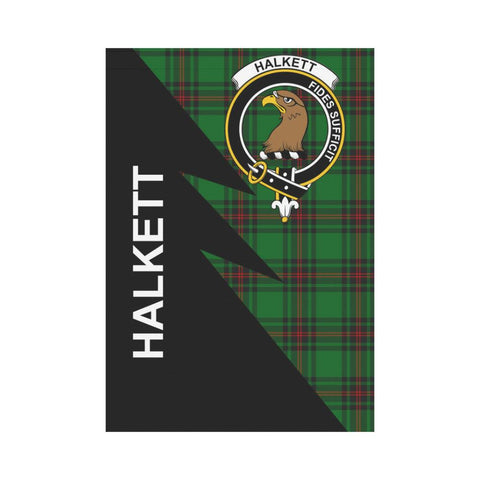 Garden Flag - Clan Halkett Plaid & Crest Tartan Flag - 3 Sizes - Flash Style