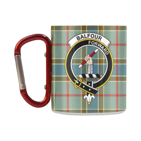ScottishShop Insulated Mug - Balfour Blue Tartan Insulated Mug - Clan Badge