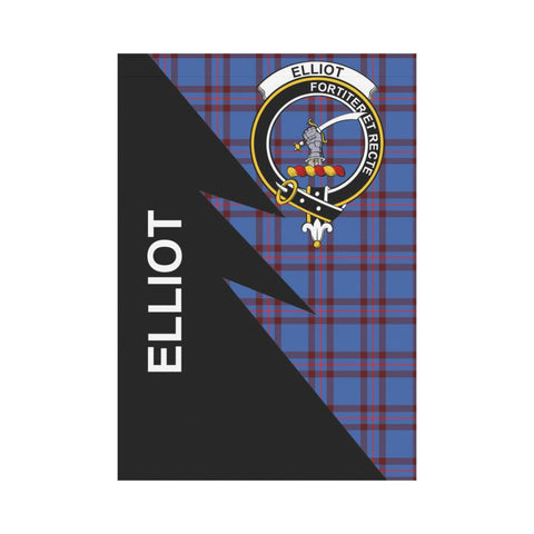 Garden Flag - Clan Elliot Plaid & Crest Tartan Flag - 3 Sizes - Flash Style