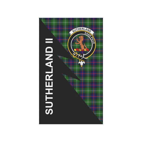 Garden Flag - Clan Sutherland II Plaid & Crest Tartan Flag - 3 Sizes - Flash Style