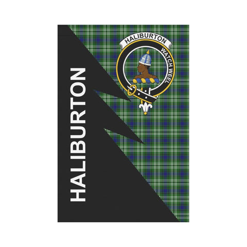 Garden Flag - Clan Haliburton Plaid & Crest Tartan Flag - 3 Sizes - Flash Style