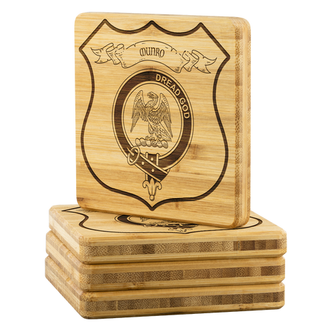 Tartan Bamboo Coaster - Munro Wood Coaster With Clan Crest K7