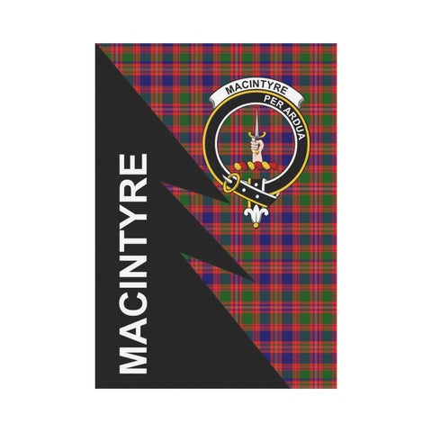 Garden Flag - Clan MacIntyre Plaid & Crest Tartan Flag - 3 Sizes - Flash Style