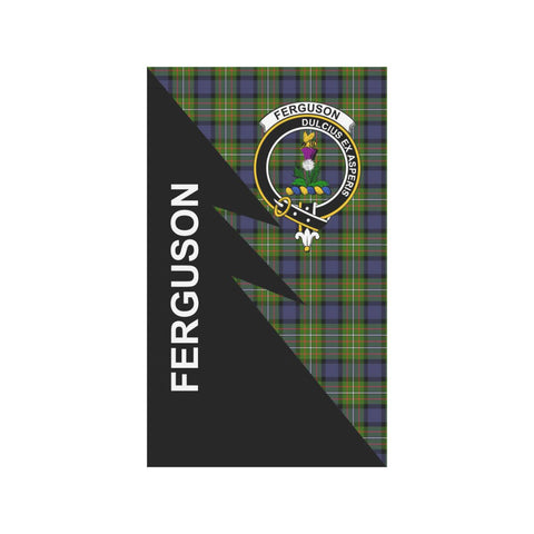 Garden Flag - Clan Fergusson Plaid & Crest Tartan Flag - 3 Sizes - Flash Style