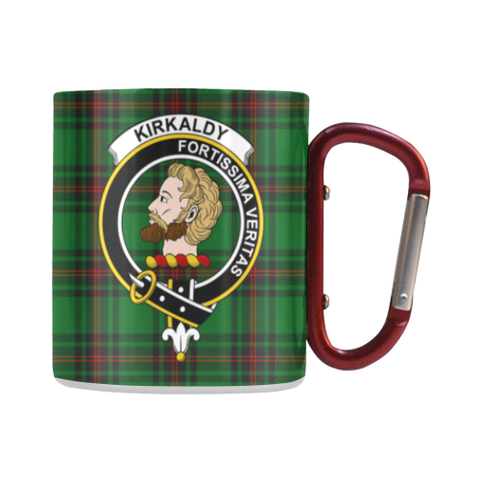 Kirkaldy (Of Grange) Tartan Mug Classic Insulated - Clan Badge