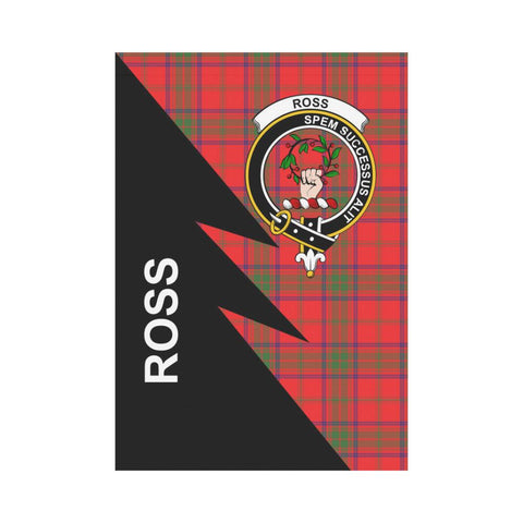 Garden Flag - Clan Ross Plaid & Crest Tartan Flag - 3 Sizes - Flash Style