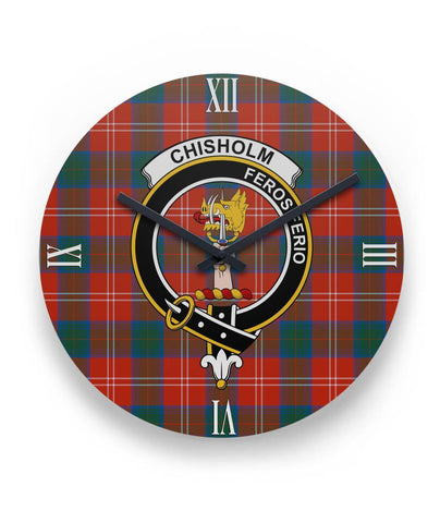 "Chisholm Ancient Tartan Wall Clock Clan Badge (11"" Round)"