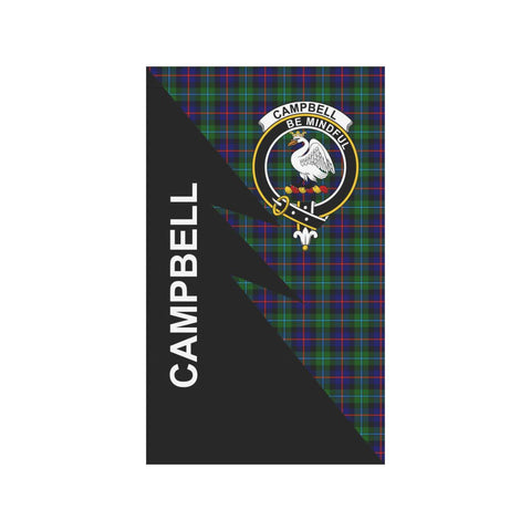 Garden Flag - Clan Campbell of Cawdor Plaid & Crest Tartan Flag - 3 Sizes - Flash Style