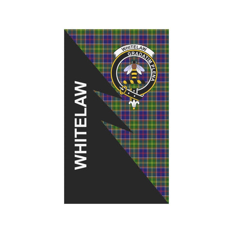 Garden Flag - Clan Whitelaw Plaid & Crest Tartan Flag - 3 Sizes - Flash Style