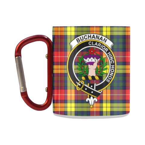 ScottishShop Insulated Mug - Buchanan Modern Tartan Insulated Mug - Clan Badge