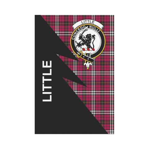 Garden Flag - Clan Little Plaid & Crest Tartan Flag - 3 Sizes - Flash Style