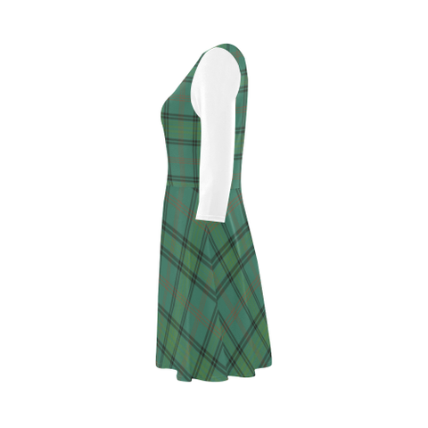 Image of Ross Hunting Ancient Tartan 3/4 Sleeve Sundress | Exclusive Over 500 Clans