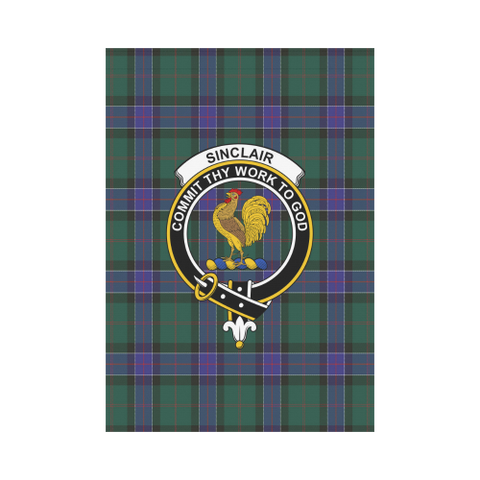 Image of Garden Flag | Tartan Sinclair Hunting Modern Flag | 2 Sizes Clan Badge