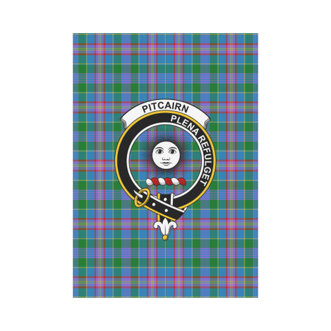 Garden Flag | Tartan Pitcairn Hunting Flag | 2 Sizes Clan Badge