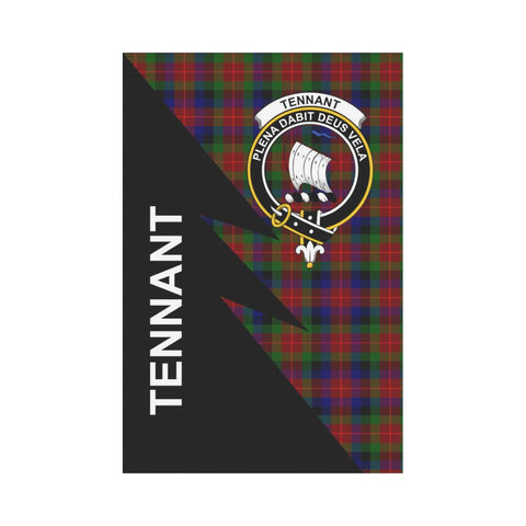 Garden Flag - Clan Tennant  Plaid & Crest Tartan Flag - 3 Sizes - Flash Style