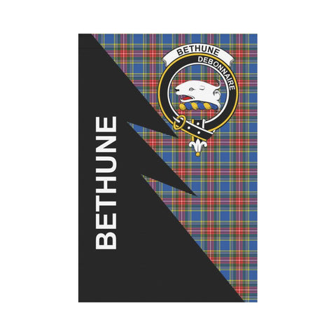 Garden Flag - Clan Bethune Plaid & Crest Tartan Flag - 3 Sizes - Flash Style