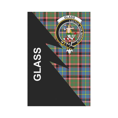 Garden Flag - Clan Glass Plaid & Crest Tartan Flag - 3 Sizes - Flash Style
