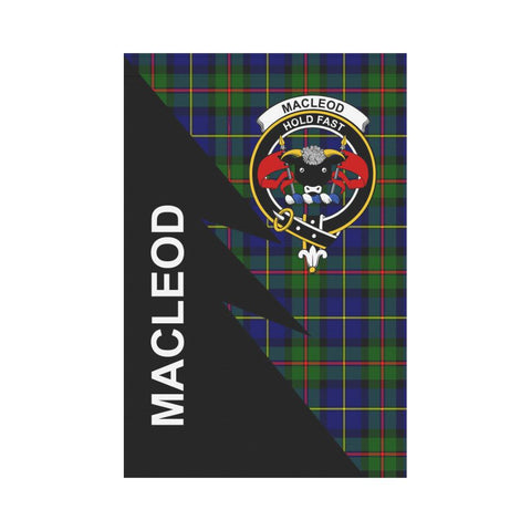 Garden Flag - Clan MacLeod Plaid & Crest Tartan Flag - 3 Sizes - Flash Style