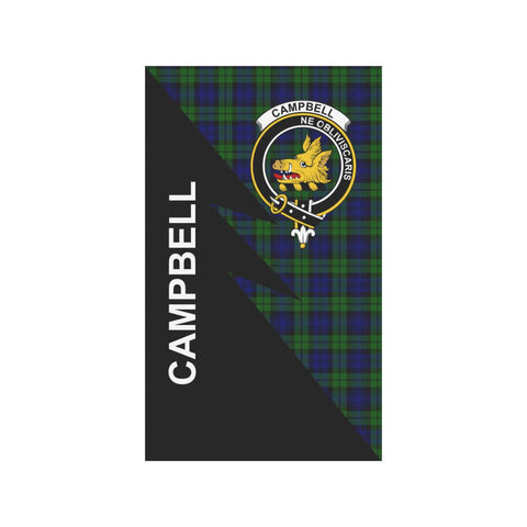 Garden Flag - Clan Campbell Plaid & Crest Tartan Flag - 3 Sizes - Flash Style