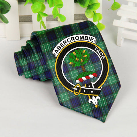Abercrombie Tartan Tie with Clan Crest TH8
