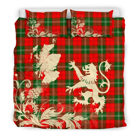 ScottishShopTartan Lennox Modern Bedding Set Scotland Lion - Thistle Map