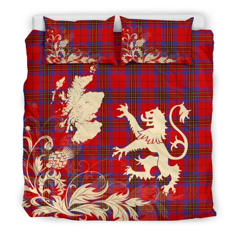 Tartan Leslie Modern Bedding Set Scotland Lion - Thistle Map