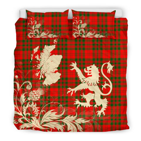 ScottishShopTartan Livingstone Modern Bedding Set Scotland Lion - Thistle Map