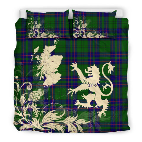 Image of ScottishShopTartan Lockhart Modern Bedding Set Scotland Lion - Thistle Map