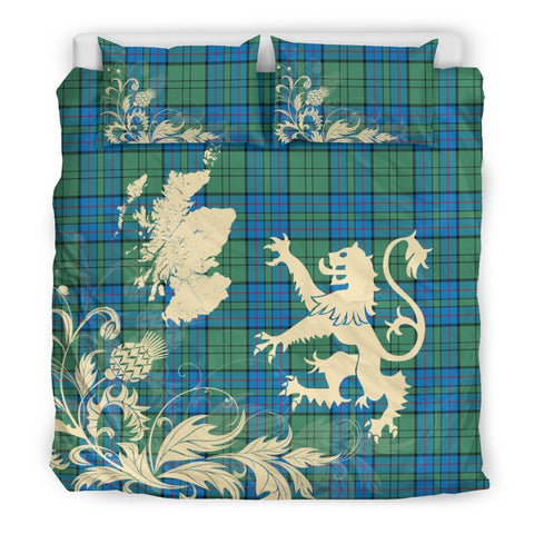 Image of ScottishShopTartan Lockhart Bedding Set Scotland Lion - Thistle Map