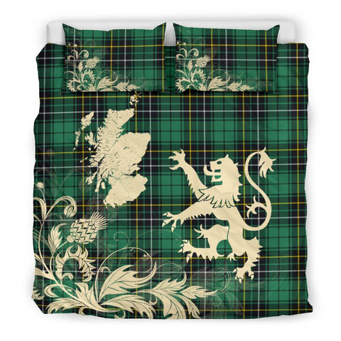 Tartan Macalpine Ancient Bedding Set Scotland Lion - Thistle Map
