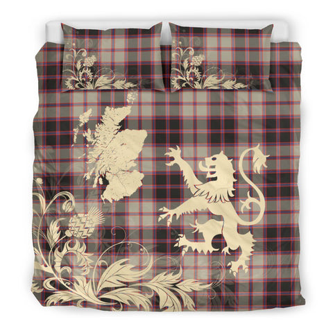 ScottishShopTartan Macpherson Hunting Ancient Bedding Set Scotland Lion - Thistle Map