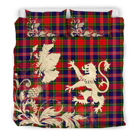 ScottishShopTartan Macpherson Modern Bedding Set Scotland Lion - Thistle Map