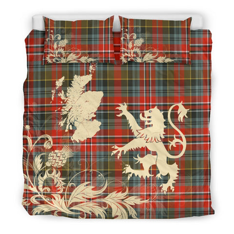 Tartan Macpherson Weathered Bedding Set Scotland Lion - Thistle Map