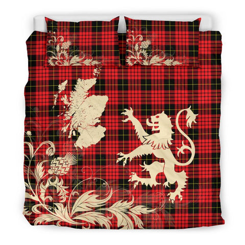 ScottishShopTartan Macqueen Modern Bedding Set Scotland Lion - Thistle Map
