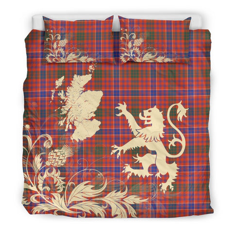 Image of ScottishShopTartan Macrae Ancient Bedding Set Scotland Lion - Thistle Map