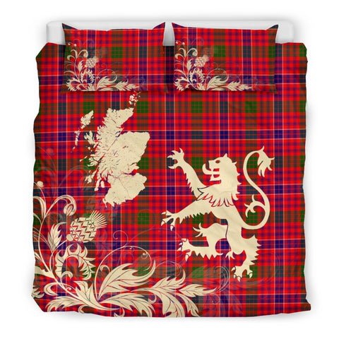 ScottishShopTartan Macrae Modern Bedding Set Scotland Lion - Thistle Map