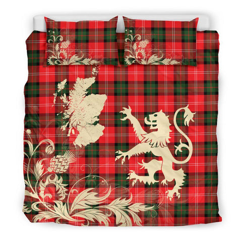 Image of Tartan Nesbitt Modern Bedding Set Scotland Lion - Thistle Map