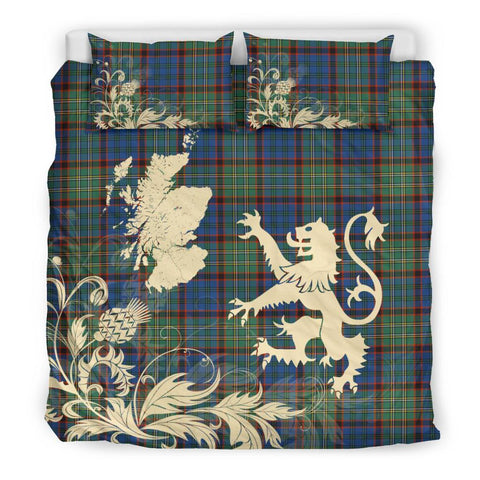 ScottishShopTartan Nicolson Hunting Ancient Bedding Set Scotland Lion - Thistle Map