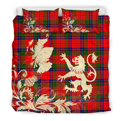 ScottishShopTartan Nicolson Modern Bedding Set Scotland Lion - Thistle Map