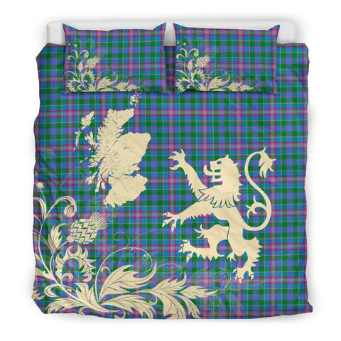 Image of ScottishShopTartan Pitcairn Hunting Bedding Set Scotland Lion - Thistle Map