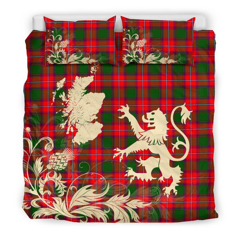 ScottishShopTartan Rattray Modern Bedding Set Scotland Lion - Thistle Map